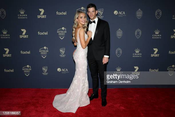 Tim Paine and wife Bonnie Paine arrive ahead of the 2020 Cricket Australia Awards at Crown Palladium on February 10 2020 in Melbourne Australia