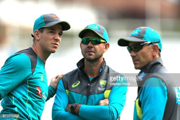 Tim Paine Assistant Coach Ricky Ponting and Head Coach Justin Langer of Australia during an Australia Net Session at The Kia Oval on June 11 2018 in...