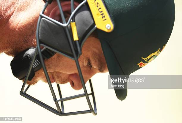 Tim Paine bats during an Australian Nets session at Manuka Oval on January 31 2019 in Canberra Australia