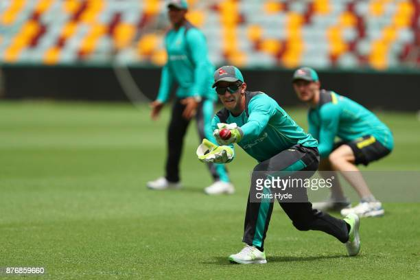 Tim Paine catches during the Australian nets session at The Gabba on November 21 2017 in Brisbane Australia