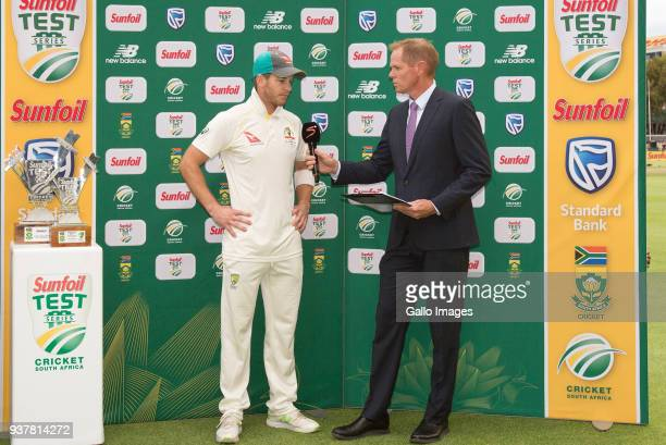Tim Paine from Australia speaks to Shaun Pollock at the prizegiving during day 4 of the 3rd Sunfoil Test match between South Africa and Australia at...