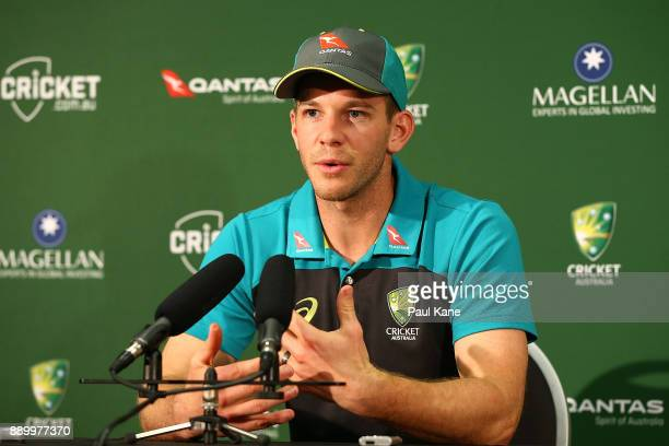 Tim Paine of Australia addresses the media at a press conference before an Australian nets session at the WACA on December 11 2017 in Perth Australia