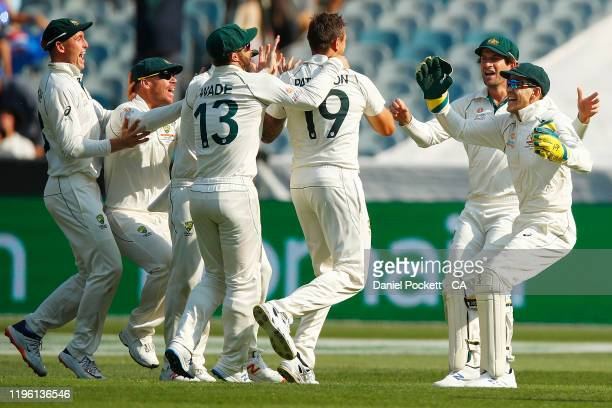 Tim Paine of Australia and James Pattinson of Australia celebrate after combining to dismiss Kane Williamson of New Zealand action during day two of...