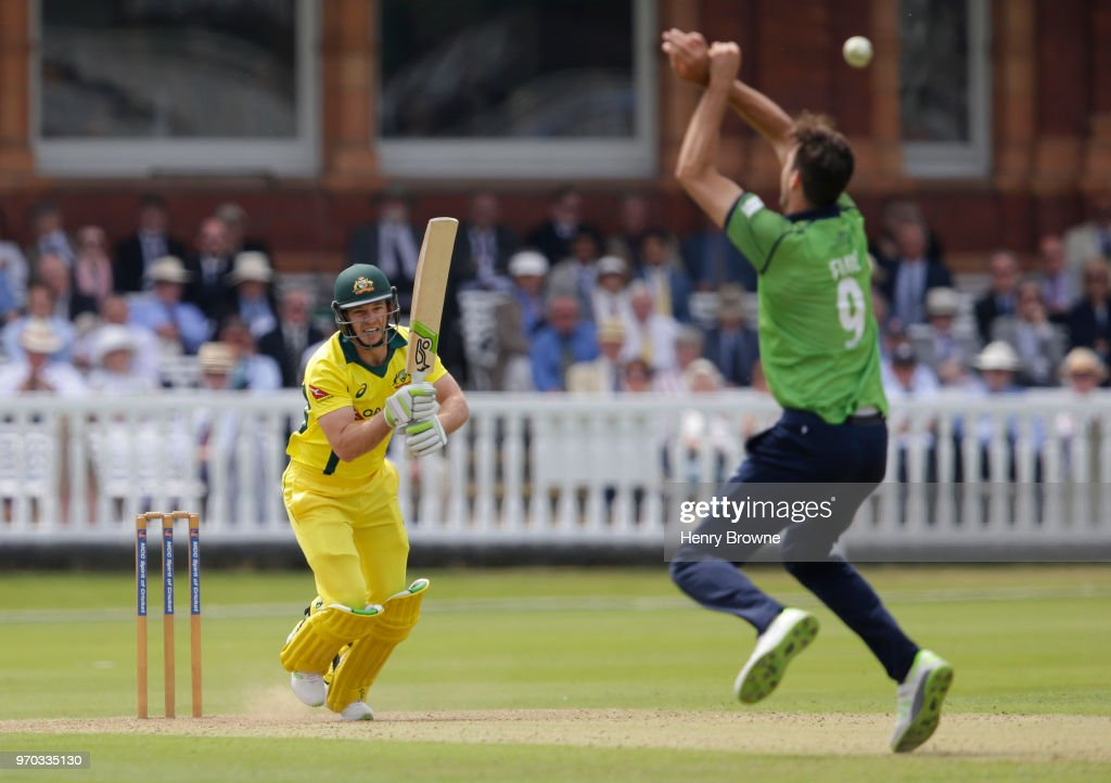 Tim Paine of Australia and Steven Finn of Middlesex during the One Day Tour match between Middlesex and Australia at Lord's Cricket Ground on June 9, 2018 in London, England.