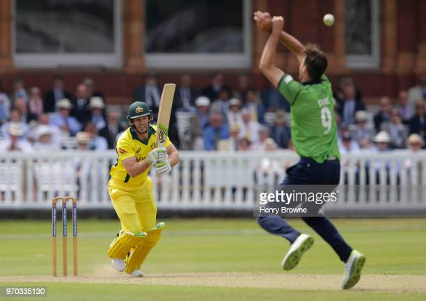 Tim Paine of Australia and Steven Finn of Middlesex during the One Day Tour match between Middlesex and Australia at Lord's Cricket Ground on June 9...