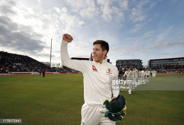 Tim Paine of Australia Australia celebrates after Australia claimed victory to retain the Ashes during day five of the 4th Specsavers Test between...