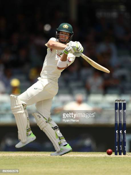 Tim Paine of Australia bats during day four of the Third Test match during the 2017/18 Ashes Series between Australia and England at WACA on December...