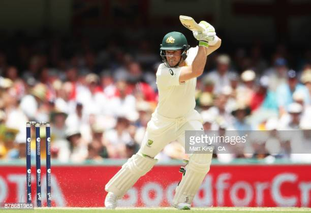 Tim Paine of Australia bats during day three of the First Test Match of the 2017/18 Ashes Series between Australia and England at The Gabba on...