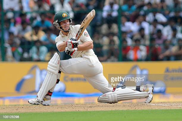 Tim Paine of Australia bats during day two of the Second Test match between India and Australia at MChinnaswamy Stadium on October 10 2010 in...