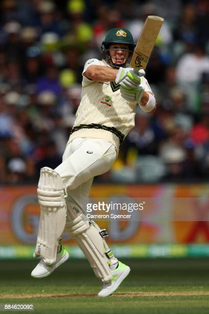 Tim Paine of Australia bats during day two of the Second Test match during the 2017/18 Ashes Series between Australia and England at Adelaide Oval on...