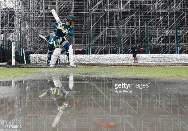 Tim Paine of Australia bats during the Australia Nets Session at Emirates Old Trafford on September 02, 2019 in Manchester, England.