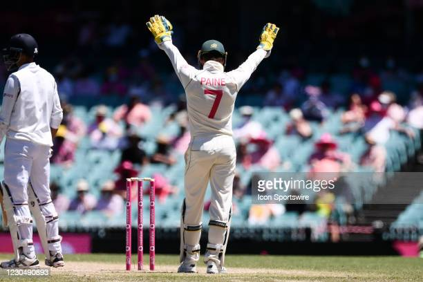 Tim Paine of Australia calls to a fielder during day three of the third Vodafone Test cricket match between Australia and India at the Sydney Cricket...