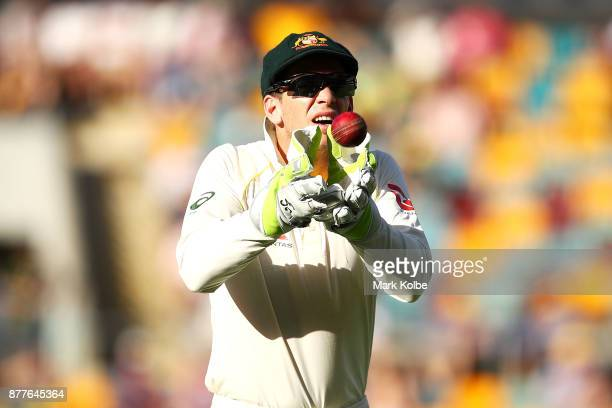 Tim Paine of Australia catches a return throw from the outfield during day one of the First Test Match of the 2017/18 Ashes Series between Australia...