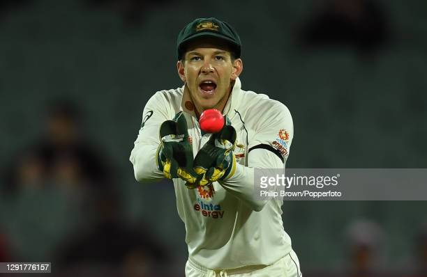 Tim Paine of Australia catches the ball during day one of the First Test match between Australia and India at Adelaide Oval on December 17, 2020 in...