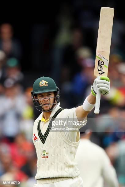 Tim Paine of Australia celebrates after reaching his half century during day two of the Second Test match during the 2017/18 Ashes Series between...
