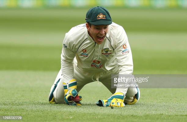 Tim Paine of Australia celebrates taking the wicket of Cheteshwar Pujara of India during day two of the Second Test match between Australia and India...