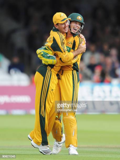 Tim Paine of Australia celebrates the stumping of Eoin Morgan of England with Ricky Ponting during the 4th NatWest One Day International between...