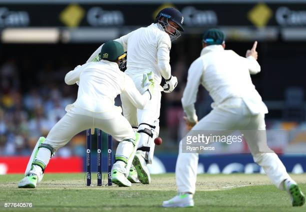 Tim Paine of Australia drops a catch after James Vince of England edged off the bowling of Nathan Lyon of Australia during day one of the First Test...