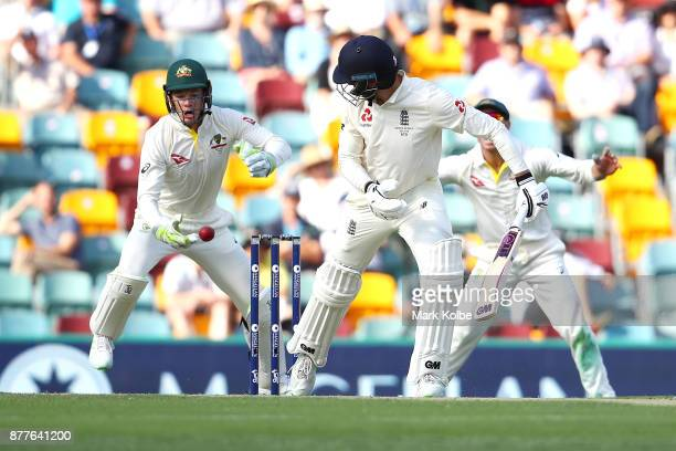 Tim Paine of Australia drops a chance from the edge of James Vince of England during day one of the First Test Match of the 2017/18 Ashes Series...