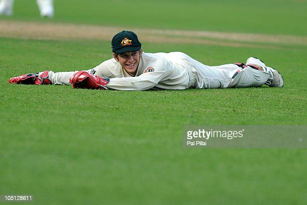 Tim Paine of Australia during day two of the Second Test match between India and Australia at MChinnaswamy Stadium on October 10 2010 in Bangalore...