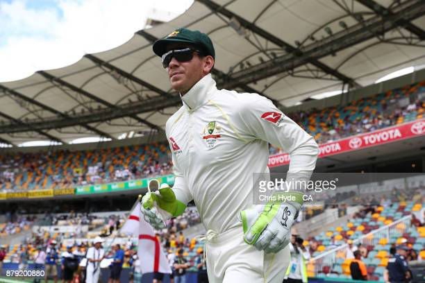Tim Paine of Australia enters the field during day four of the First Test Match of the 2017/18 Ashes Series between Australia and England at The...