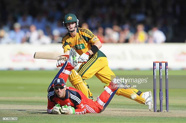 Tim Paine of Australia hits out past Matt Prior of England during the 4th NatWest One Day International between England and Australia at Lord's on...