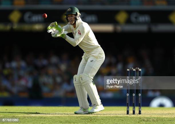Tim Paine of Australia keeps wicket during day one of the First Test Match of the 2017/18 Ashes Series between Australia and England at The Gabba on...