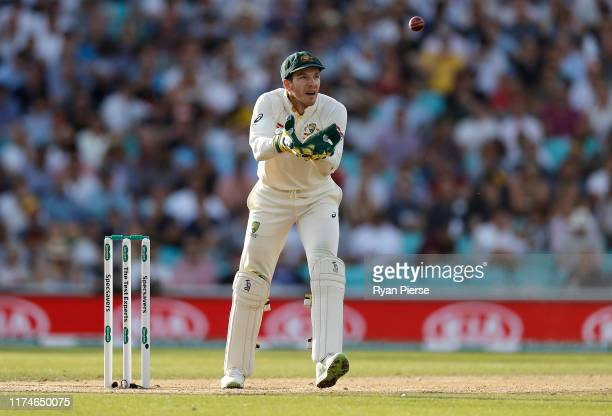 Tim Paine of Australia keeps wicket during day three of the 5th Specsavers Ashes Test between England and Australia at The Kia Oval on September 14,...