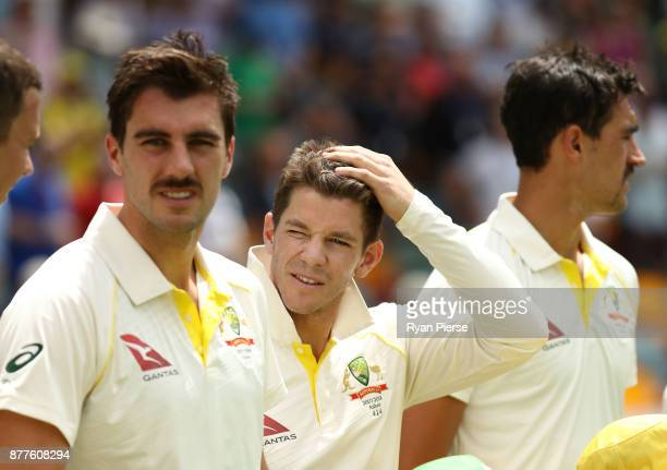 Tim Paine of Australia looks on during day one of the First Test Match of the 2017/18 Ashes Series between Australia and England at The Gabba on...