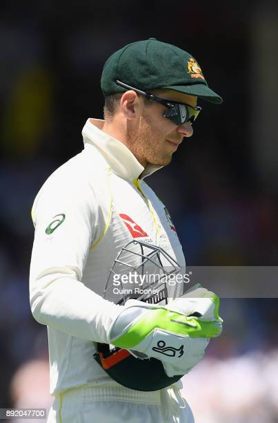 Tim Paine of Australia looks on during day one of the Third Test match of the 2017/18 Ashes Series between Australia and England at WACA on December...