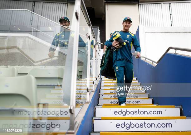 Tim Paine of Australia looks on during the Australia Nets Session at Edgbaston on July 30 2019 in Birmingham England