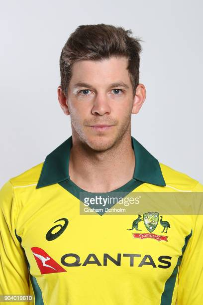 Tim Paine of Australia poses during an Australia One Day International headshots session at the Melbourne Cricket Ground on January 12 2018 in...