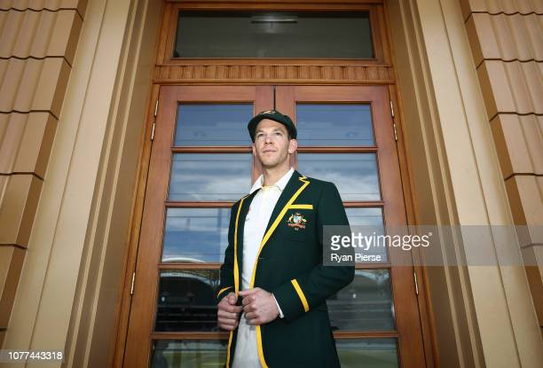 Tim Paine of Australia poses in his Captains Blazer ahead of the Test series between Australia and India at Adelaide Oval on December 05 2018 in...