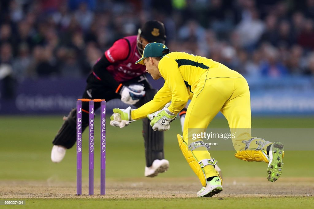 Tim Paine of Australia runs out Chris Jordan of Sussex during the one day tour match between Sussex and Australia at The 1st Central County Ground on June 7, 2018 in Hove, England.