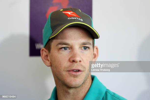 Tim Paine of Australia speaks to the media during a press conference at Lord's Cricket Ground on June 6 2018 in London England