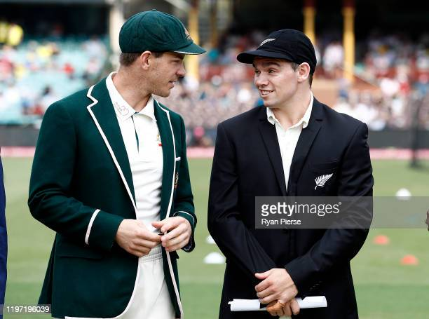 Tim Paine of Australia speaks to Tom Latham of New Zealand at the toss during day one of the Third Test match in the series between Australia and New...