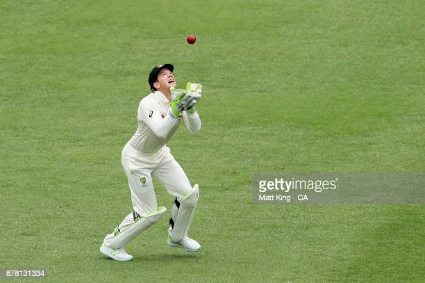 Tim Paine of Australia takes a catch to dismiss Jonny Bairstow of England during day two of the First Test Match of the 2017/18 Ashes Series between...