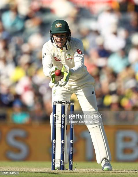 Tim Paine of Australia takes the ball during day one of the Third Test match of the 2017/18 Ashes Series between Australia and England at the WACA on...