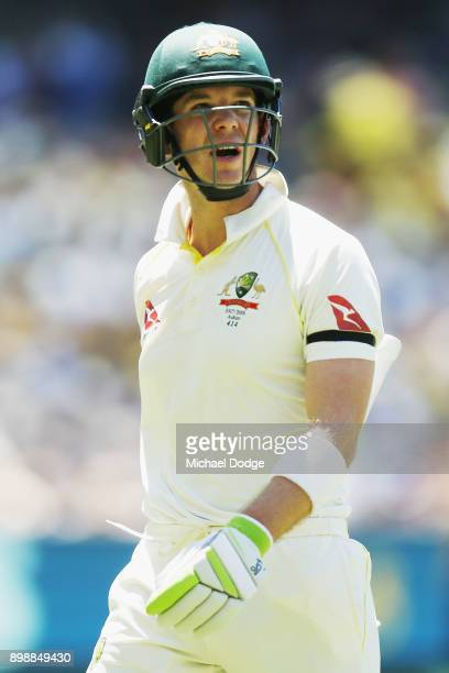 Tim Paine of Australia walks off after being dismissed during day two of the Fourth Test Match in the 2017/18 Ashes series between Australia and...