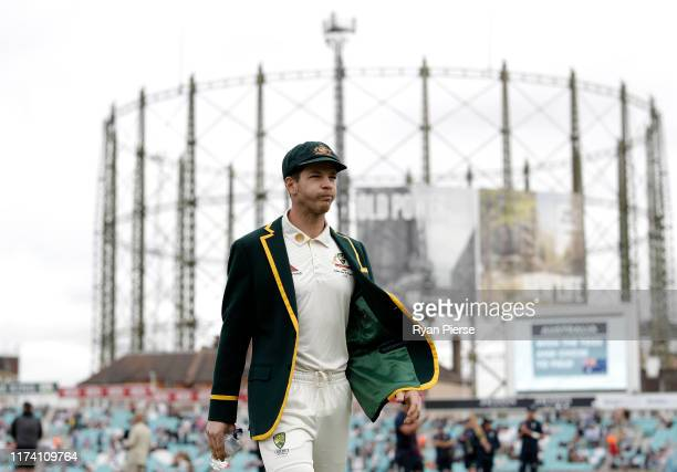 Tim Paine of Australia walks out for the coin toss during day one of the 5th Specsavers Ashes Test at The Kia Oval on September 12 2019 in London...