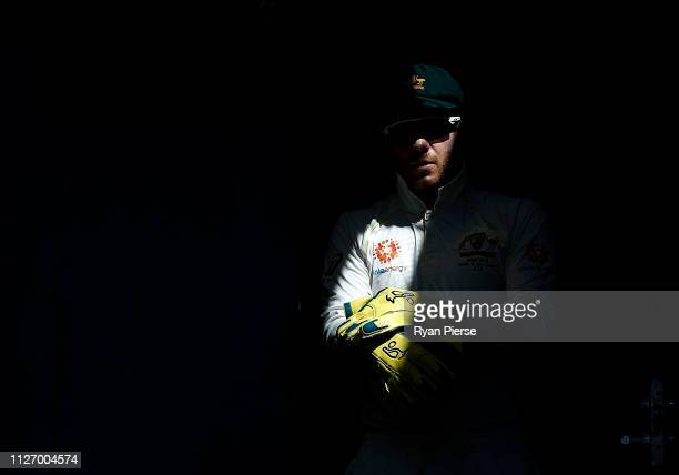 Tim Paine of Australia walks out to field during day three of the Second Test match between Australia and Sri Lanka at Manuka Oval on February 03...