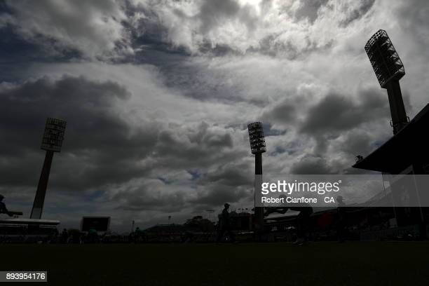 Tim Paine of Australia warms up prior to day four of the Third Test match during the 2017/18 Ashes Series between Australia and England at the WACA...