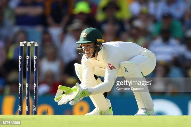 Tim Paine of Australia wicket keeps during day one of the First Test Match of the 2017/18 Ashes Series between Australia and England at The Gabba on...