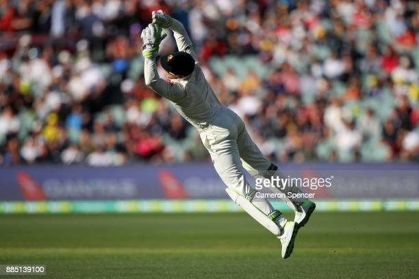 Tim Paine of Australia wicket keeps during day three of the Second Test match during the 2017/18 Ashes Series between Australia and England at...