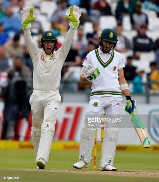Tim Paine of Australia wins the appeal to dismiss Faf du Plessis of South Africa during day 3 of the 3rd Sunfoil Test match between South Africa and...