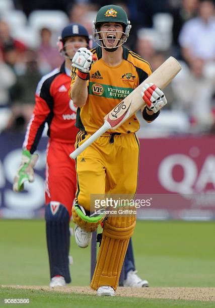 Tim Paine of Austrlia celebrates his maiden ODI century during the Sixth One Day International between England and Australia at Trent Bridge on...