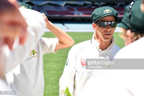 Tim Paine of CA XI addresses his players during the four day tour match between Cricket Australia XI and England at Adelaide Oval on November 8 2017...