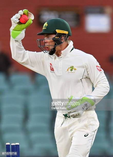 Tim Paine of CA XI appeals during the four day tour match between Cricket Australia XI and England at Adelaide Oval on November 8 2017 in Adelaide...