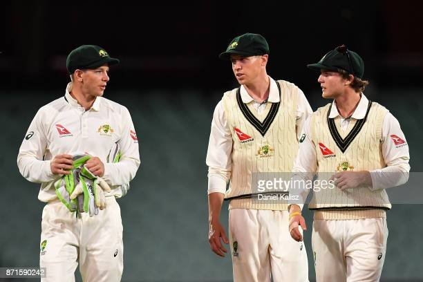 Tim Paine of CA XI walks from the field at stumps during the four day tour match between Cricket Australia XI and England at Adelaide Oval on...