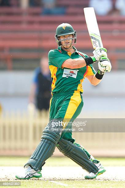 Tim Paine of Tasmania bats during the Matador BBQs One Day Cup match between Tasmania and Victoria at North Sydney Oval on October 20 2015 in Sydney...